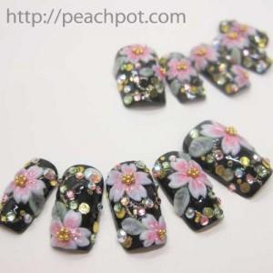和装ネイル 桜のネイルチップ